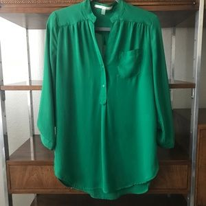 41 Hawthorn Green 3/4 Roll Tab Sleeve Tunic Shirt